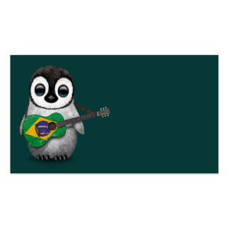 Baby Penguin Playing Brazilian Flag Guitar Teal Business Card