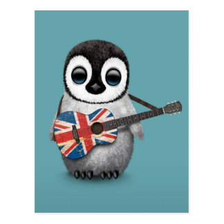 Baby Penguin Playing British Flag Guitar Blue Postcard