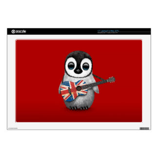 Baby Penguin Playing British Flag Guitar Red Decal For Laptop