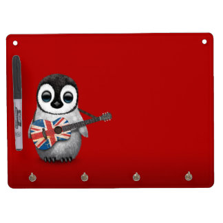 Baby Penguin Playing British Flag Guitar Red Dry Erase Board With Keychain Holder