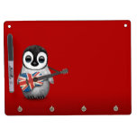 Baby Penguin Playing British Flag Guitar Red Dry-Erase Boards