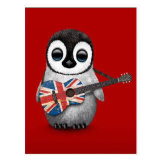 Baby Penguin Playing British Flag Guitar Red Postcard