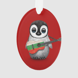 Baby Penguin Playing Bulgarian Flag Guitar Red Ornament
