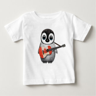 Baby Penguin Playing Canadian Flag Guitar Baby T-Shirt