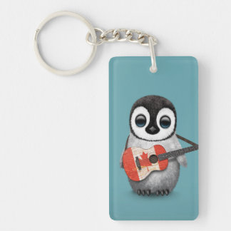 Baby Penguin Playing Canadian Flag Guitar Blue Keychain