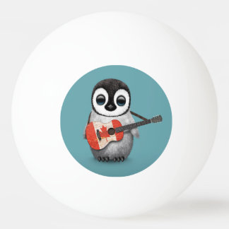 Baby Penguin Playing Canadian Flag Guitar Blue Ping-Pong Ball