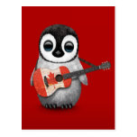Baby Penguin Playing Canadian Flag Guitar Red Post Cards
