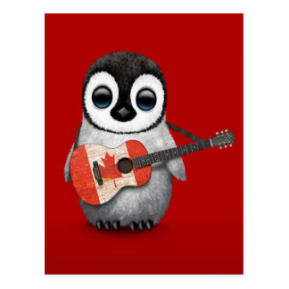 Baby Penguin Playing Canadian Flag Guitar Red Postcard