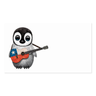 Baby Penguin Playing Chilean Flag Guitar Business Card