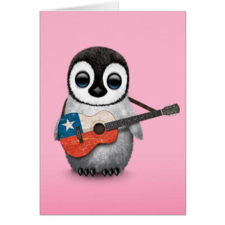 Baby Penguin Playing Chilean Flag Guitar Pink Card