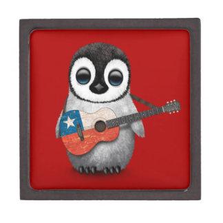 Baby Penguin Playing Chilean Flag Guitar Red Keepsake Box