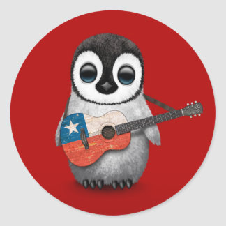 Baby Penguin Playing Chilean Flag Guitar Red Classic Round Sticker