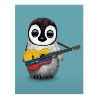 Baby Penguin Playing Colombian Flag Guitar Blue Postcard