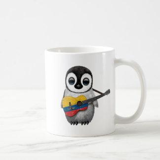Baby Penguin Playing Colombian Flag Guitar Coffee Mug