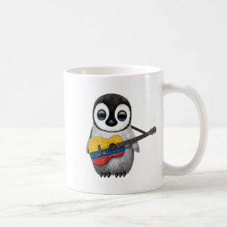 Baby Penguin Playing Colombian Flag Guitar Coffee Mugs