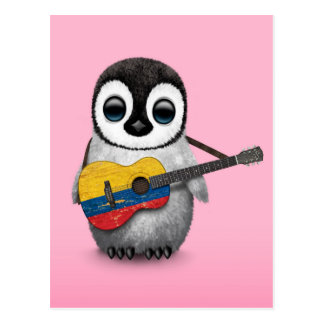 Baby Penguin Playing Colombian Flag Guitar Pink Postcard