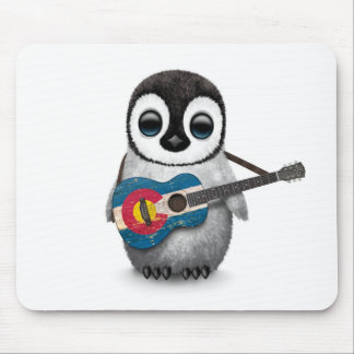 Baby Penguin Playing Colorado Flag Guitar Mouse Pad