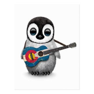 Baby Penguin Playing Colorado Flag Guitar Postcard