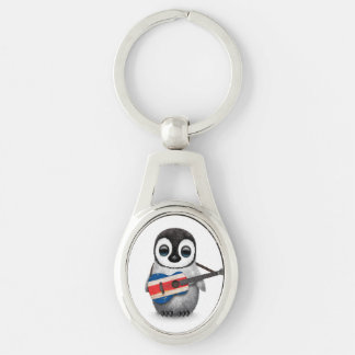 Baby Penguin Playing Costa Rican Flag Guitar Keychain