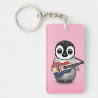 Baby Penguin Playing Croatian Flag Guitar Pink Keychain