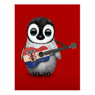 Baby Penguin Playing Croatian Flag Guitar Red Postcard