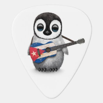 Baby Penguin Playing Cuban Flag Guitar Guitar Pick by crazycreatures at Zazzle