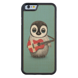 Baby Penguin Playing Danish Flag Guitar Blue Carved Maple iPhone 6 Bumper Case