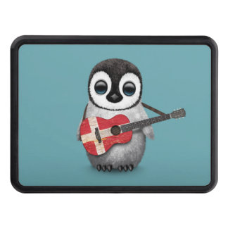 Baby Penguin Playing Danish Flag Guitar Blue Hitch Cover
