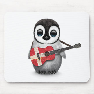 Baby Penguin Playing Danish Flag Guitar Mouse Pad