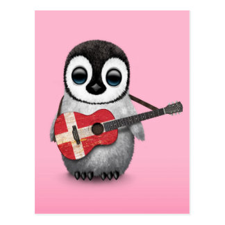 Baby Penguin Playing Danish Flag Guitar Pink Postcard
