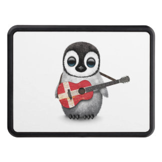 Baby Penguin Playing Danish Flag Guitar Tow Hitch Cover