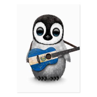 Baby Penguin Playing El Salvador Flag Guitar Large Business Card