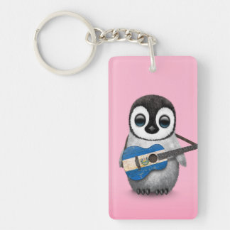 Baby Penguin Playing El Salvador Flag Guitar Pink Keychain