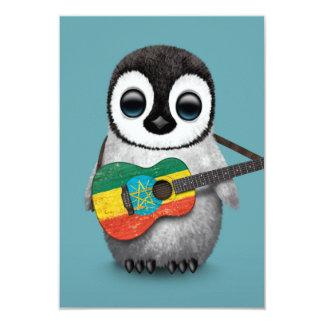 Baby Penguin Playing Ethiopian Flag Guitar Blue Card