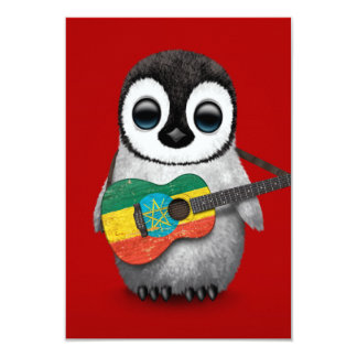 Baby Penguin Playing Ethiopian Flag Guitar Red Card