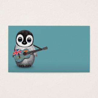 Baby Penguin Playing Fiji Flag Guitar Blue Business Card