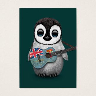 Baby Penguin Playing Fiji Flag Guitar Teal Business Card