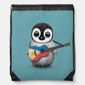 Baby Penguin Playing Filipino Flag Guitar Blue Drawstring Bag