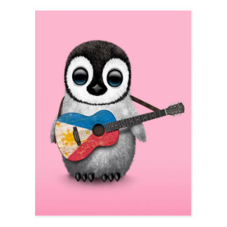 Baby Penguin Playing Filipino Flag Guitar Pink Postcard