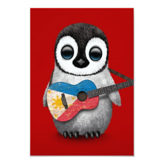 Baby Penguin Playing Filipino Flag Guitar Red Card