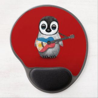 Baby Penguin Playing Filipino Flag Guitar Red Gel Mouse Pad