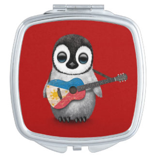 Baby Penguin Playing Filipino Flag Guitar Red Mirror For Makeup