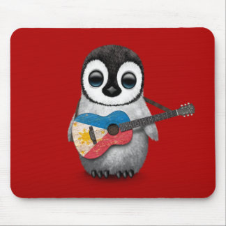 Baby Penguin Playing Filipino Flag Guitar Red Mouse Pad
