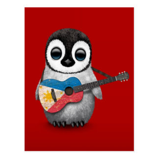 Baby Penguin Playing Filipino Flag Guitar Red Postcard
