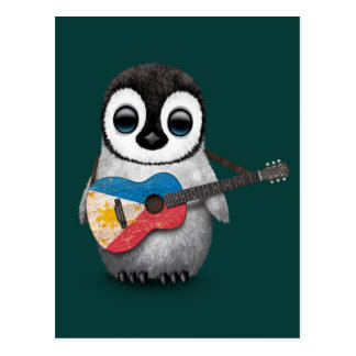 Baby Penguin Playing Filipino Flag Guitar Teal Postcard