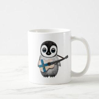 Baby Penguin Playing Finnish Flag Guitar Coffee Mug