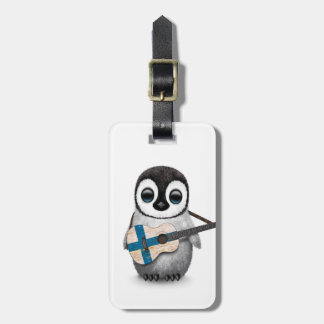Baby Penguin Playing Finnish Flag Guitar Travel Bag Tag