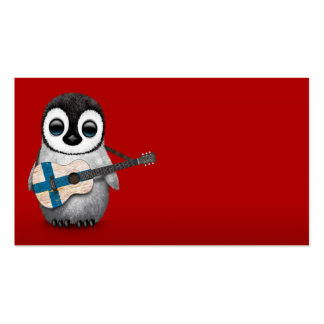 Baby Penguin Playing Finnish Flag Guitar Red Business Card