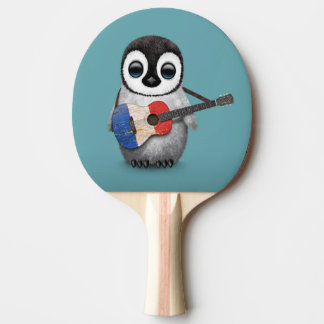Baby Penguin Playing French Flag Guitar Blue Ping-Pong Paddle