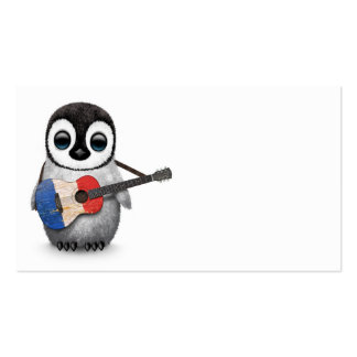 Baby Penguin Playing French Flag Guitar Business Card
